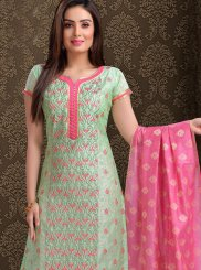 Churidar Salwar Suit Embroidered Chanderi in Green