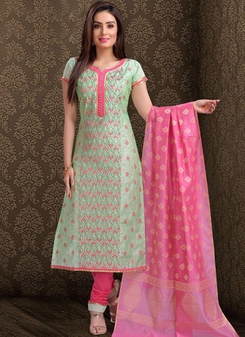 Churidar Salwar Suit Embroidered Chanderi in Green