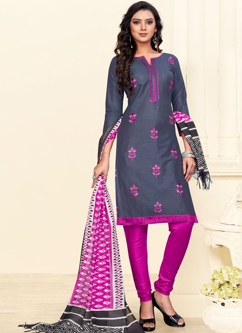 Churidar Salwar Suit Embroidered Cotton in Grey and Hot Pink