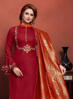 Churidar Salwar Suit Embroidered Cotton in Maroon