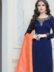 Churidar Salwar Suit Embroidered Georgette Satin in Navy Blue