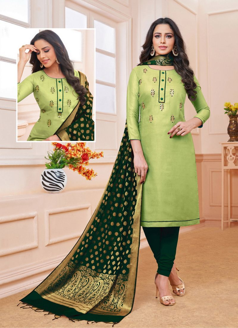 Churidar Salwar Suit Embroidered Satin in Sea Green