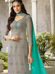 Churidar Salwar Suit Swarovski Georgette Satin in Grey
