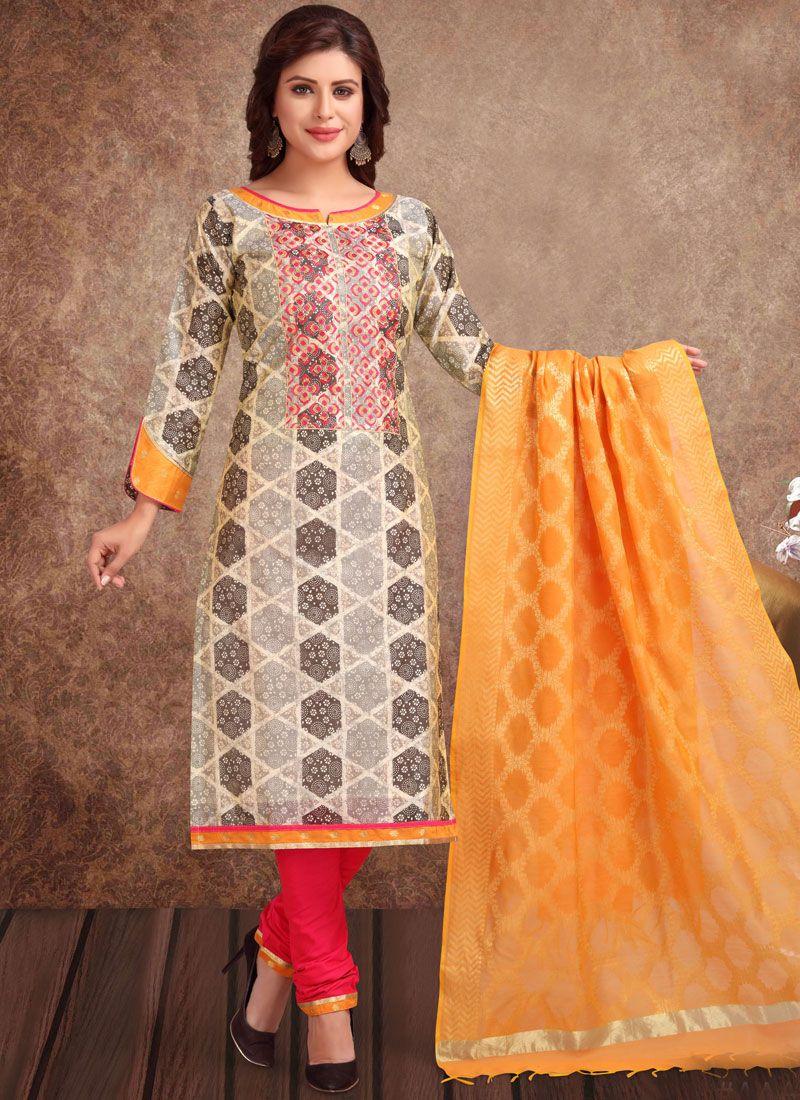 Churidar Suit Embroidered Banarasi Silk in Black and White