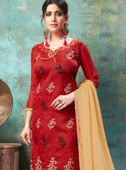 Churidar Suit Embroidered Chanderi Cotton in Red