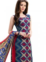 Churidar Suit Embroidered Chanderi in Blue