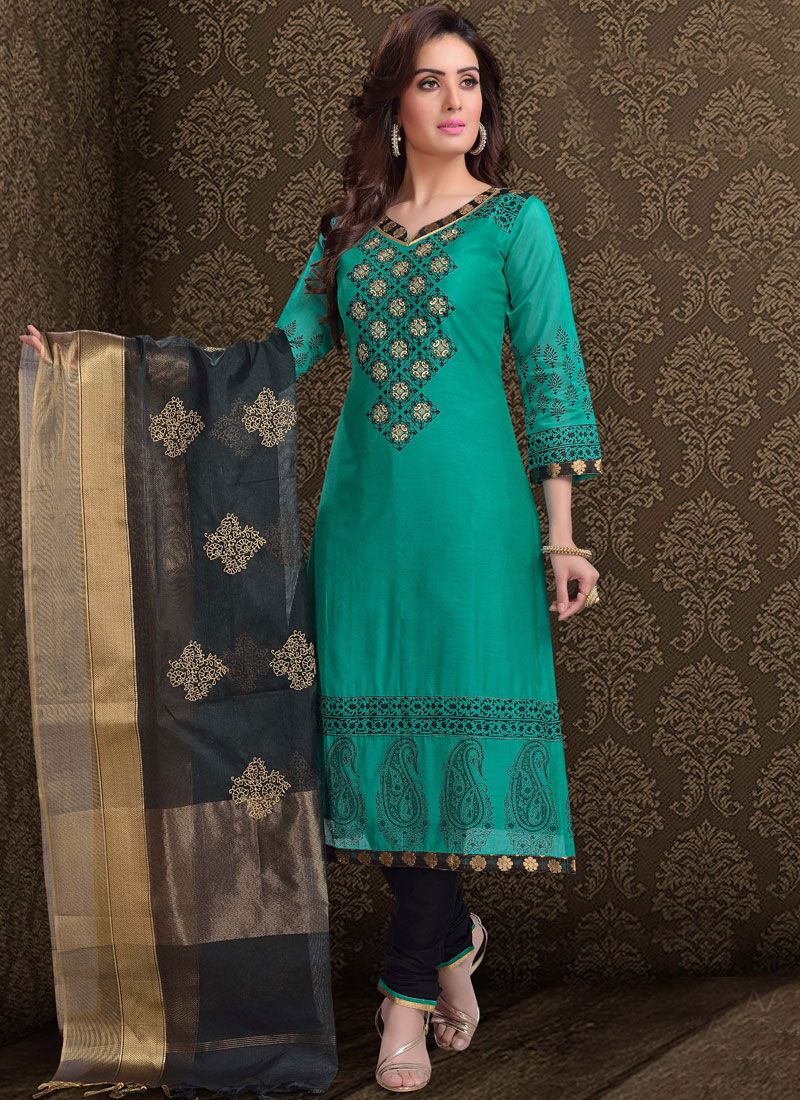 Churidar Suit Embroidered Chanderi in Teal