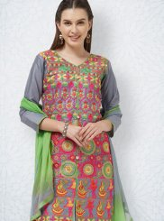 Churidar Suit Embroidered Cotton in Grey