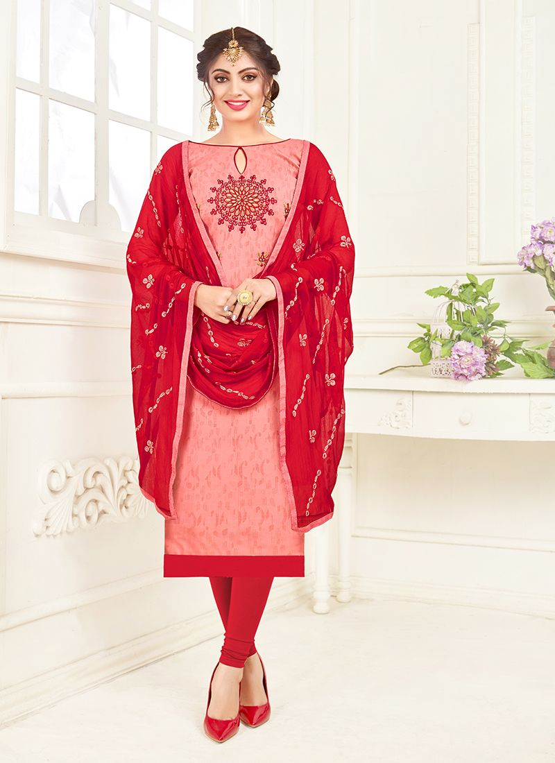 Churidar Suit Embroidered Cotton in Pink