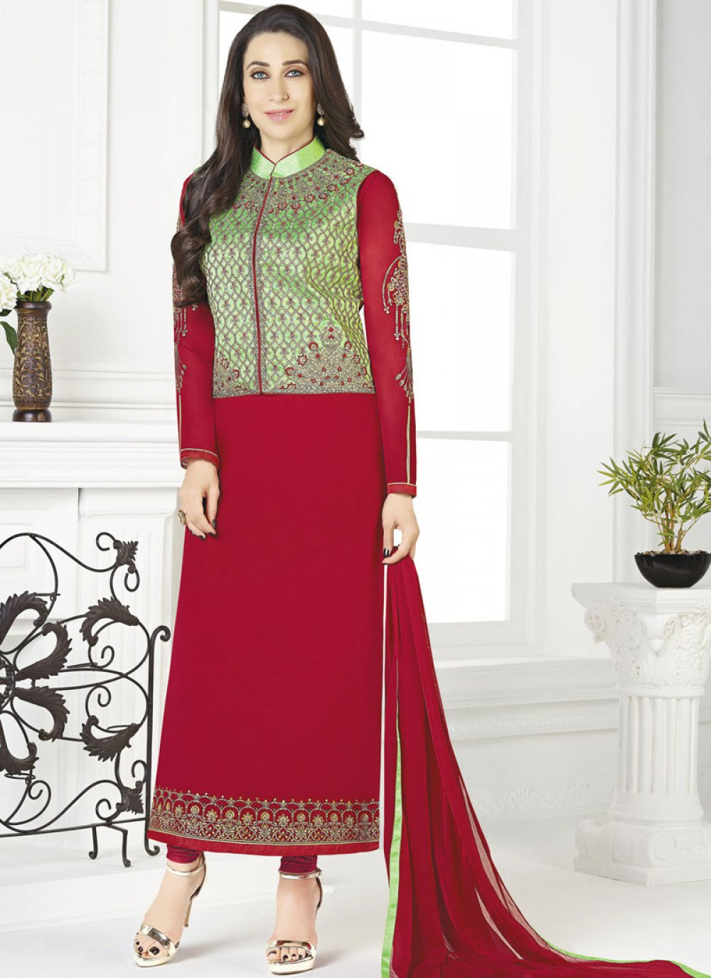 Churidar Suit Embroidered Georgette in Red