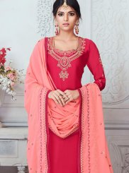 Churidar Suit Embroidered Georgette Satin in Hot Pink