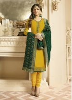 Churidar Suit Embroidered Georgette Satin in Mustard