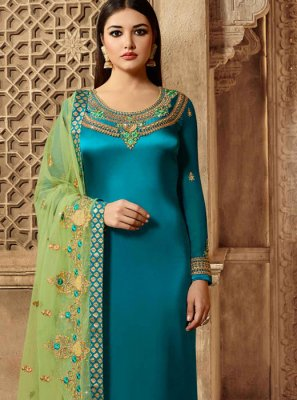 Churidar Suit Embroidered Georgette Satin in Teal