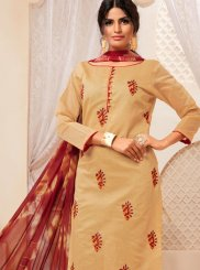 Churidar Suit Print Cotton in Beige