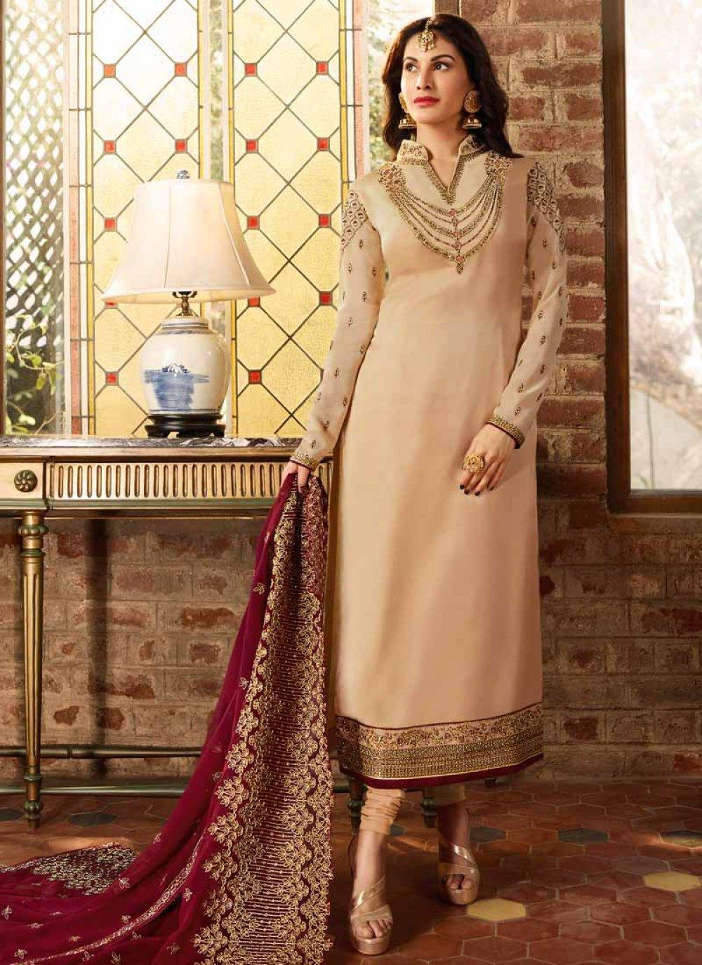 Churidar Suit Resham Georgette Satin in Cream
