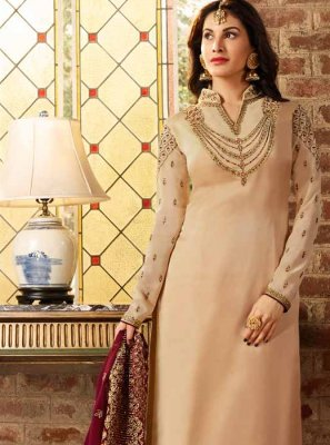 Churidar Suit Resham Georgette Satin in Cream