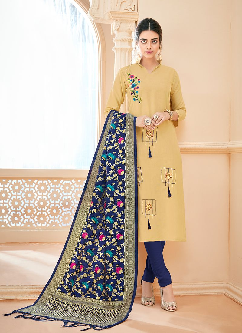 Churidar Suit Thread Cotton in Cream