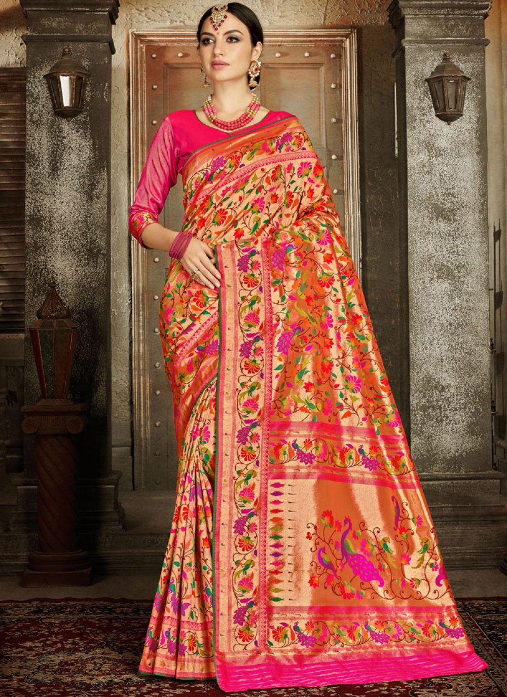 Classic Designer Saree Embroidered Banarasi Silk in Pink