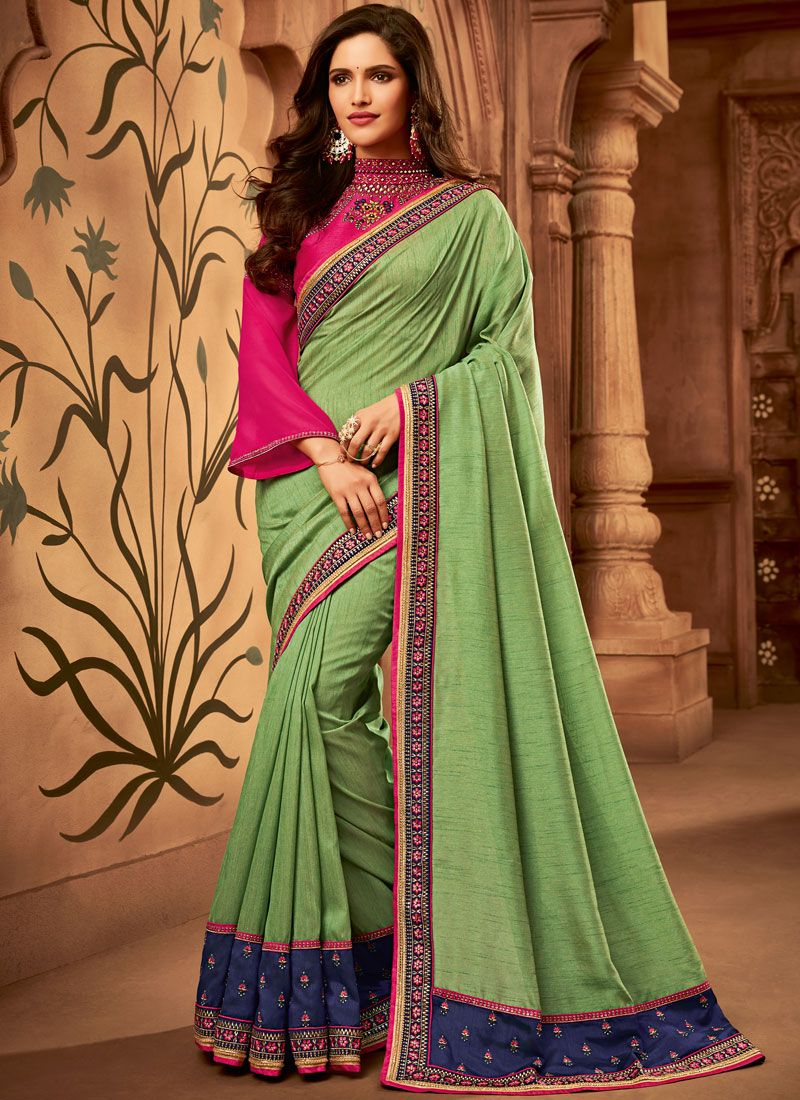 Classic Designer Saree Embroidered Fancy Fabric in Green