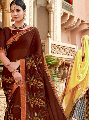 Classic Designer Saree Embroidered Faux Georgette in Brown