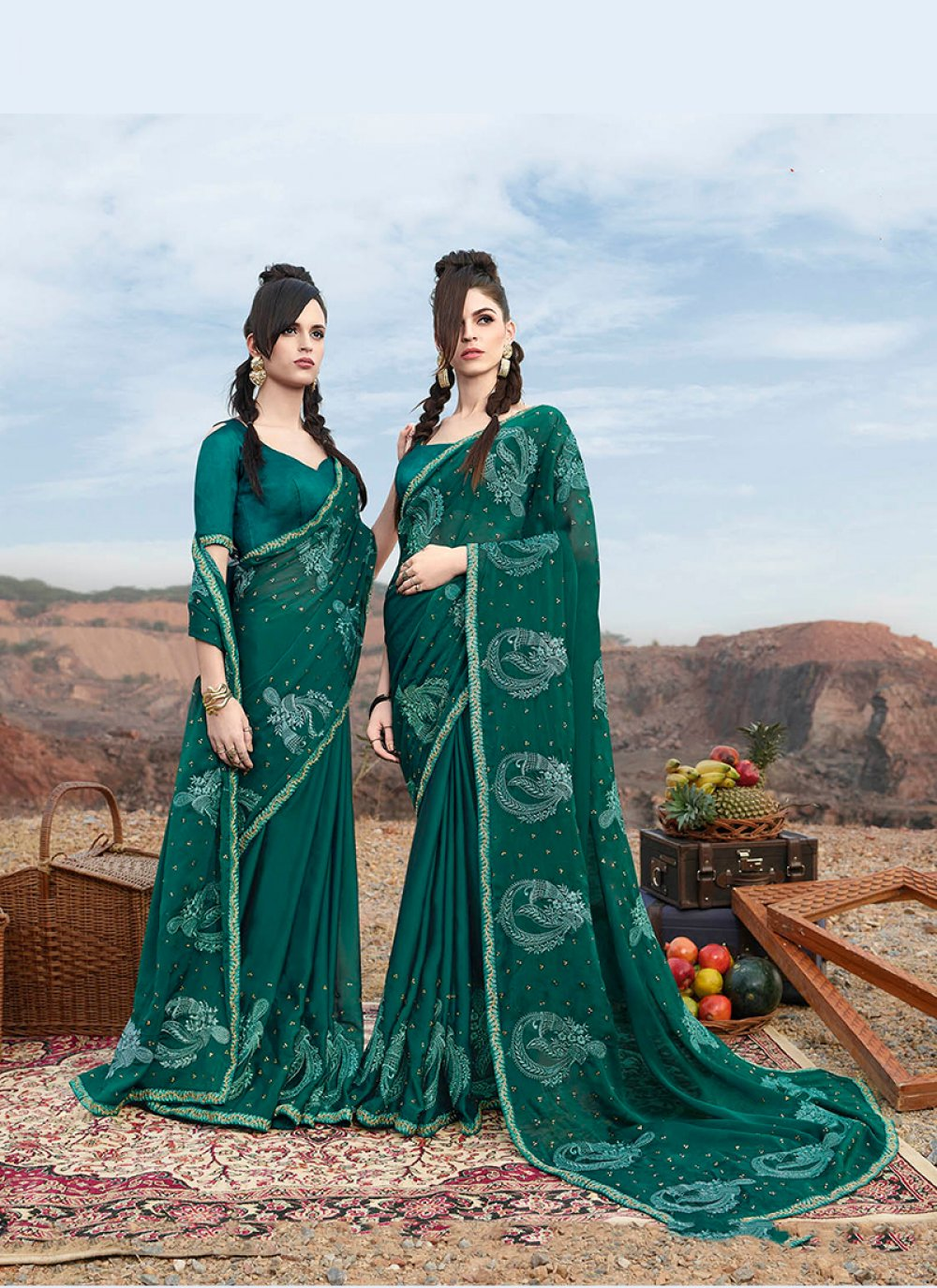 Classic Designer Saree Embroidered Faux Georgette in Green