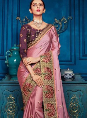 Classic Designer Saree Embroidered Georgette Satin in Pink