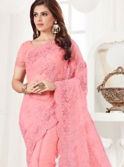 Classic Designer Saree Embroidered Net in Pink