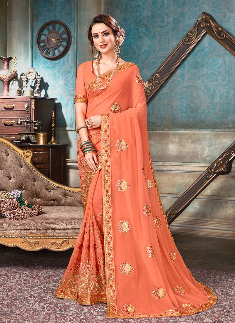 Classic Designer Saree Patch Border Faux Georgette in Peach