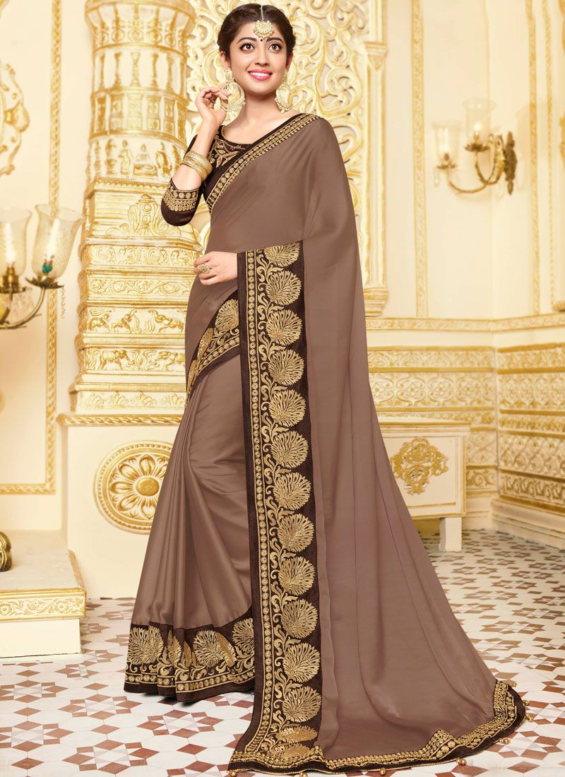 Classic Designer Saree Patch Border Georgette Satin in Beige