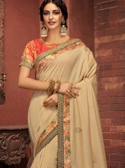 Classic Saree Digital Print Silk in Cream