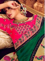 Classic Saree Embroidered Art Silk in Green