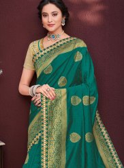 Classic Saree Embroidered Banarasi Silk in Green