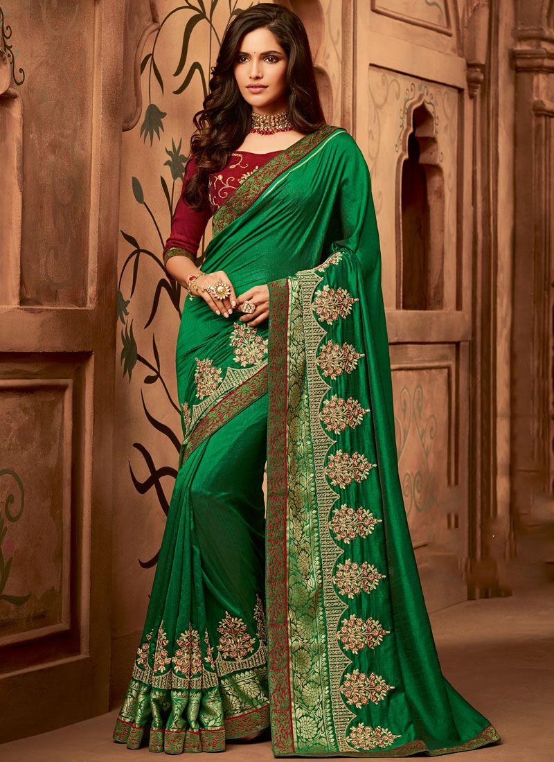 Classic Saree Embroidered Fancy Fabric in Green