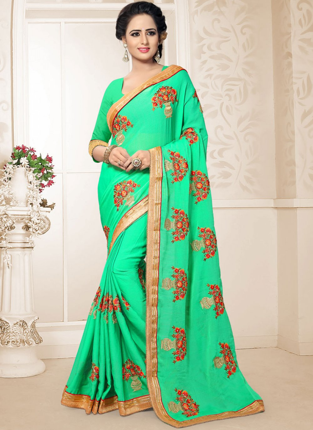 Classic Saree Embroidered Faux Chiffon in Green