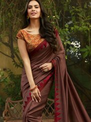 Classic Saree Embroidered Faux Georgette in Brown