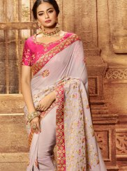 Classic Saree Embroidered Faux Georgette in Lavender