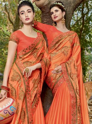 Classic Saree Embroidered Faux Georgette in Orange