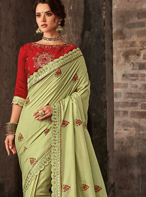Classic Saree Embroidered Poly Silk in Sea Green