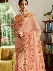 Classic Saree Embroidered Satin in Peach