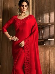 Classic Saree Embroidered Satin in Red