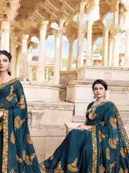 Classic Saree Embroidered Satin Silk in Blue