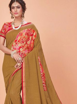 Classic Saree Embroidered Silk in Brown