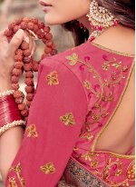 Classic Saree Embroidered Viscose in Pink
