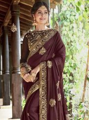Classic Saree Patch Border Faux Georgette in Wine