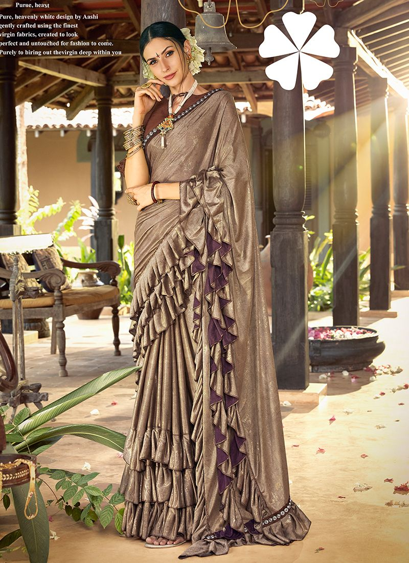 Classic Saree Patch Border Lycra in Grey