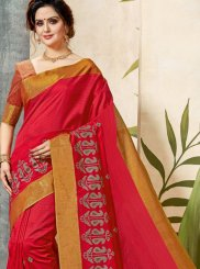 Classic Saree Print Chanderi Cotton in Red