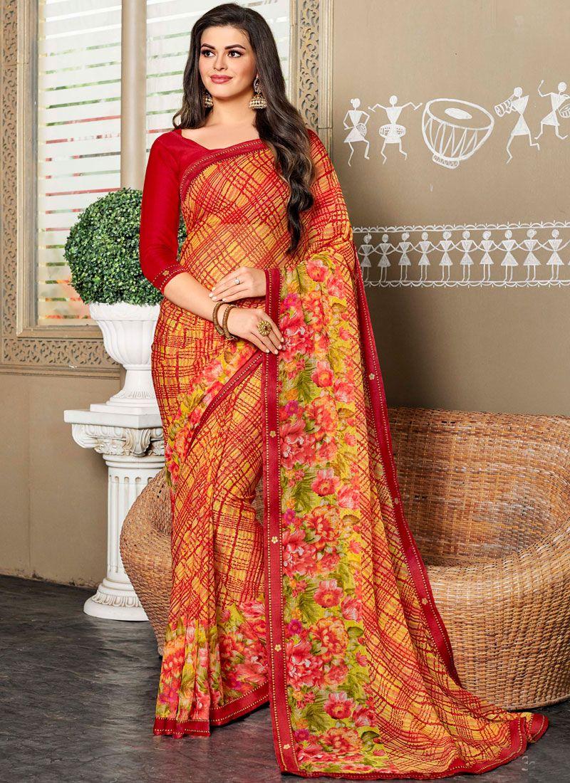 Classic Saree Printed Faux Chiffon in Multi Colour