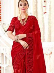 Classic Saree Resham Faux Georgette in Red