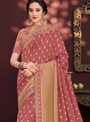 Classic Saree Stone Work Banarasi Silk in Red