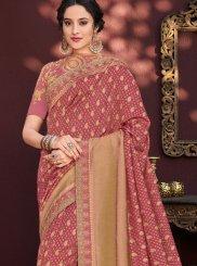 Classic Saree Stone Work Banarasi Silk in Red